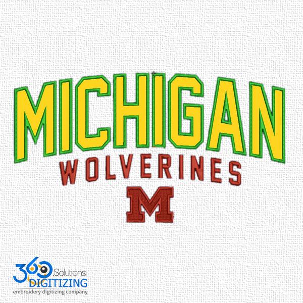 Michigan Wolverines M Logo Digitizing For Embroidery - Best Quality Embroidery Digitizing - 360 Digitizing Solutions.jpg